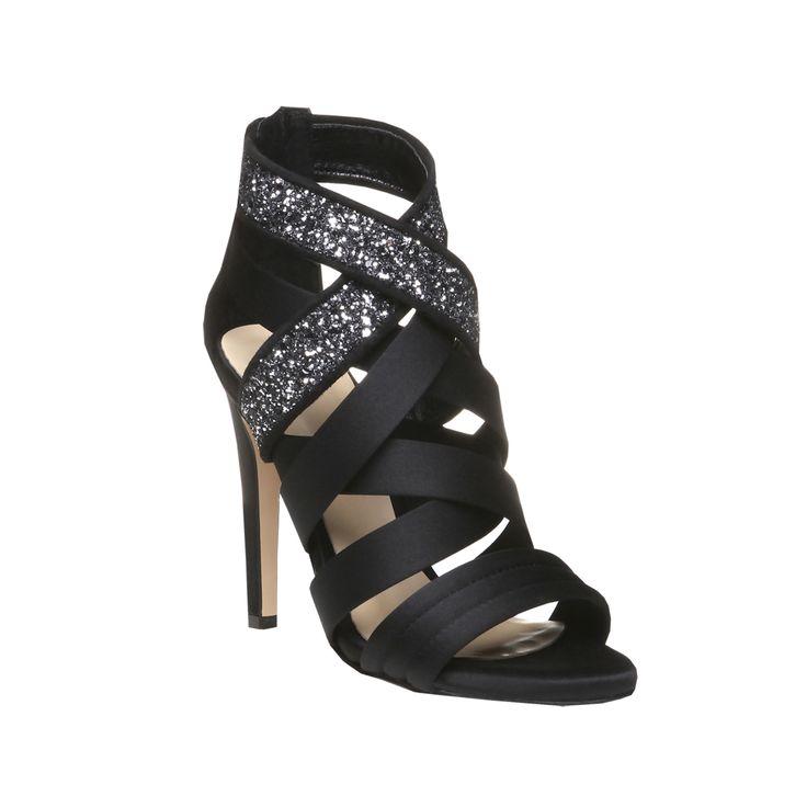 Saténové sandály Diamond na stiletto podpadku