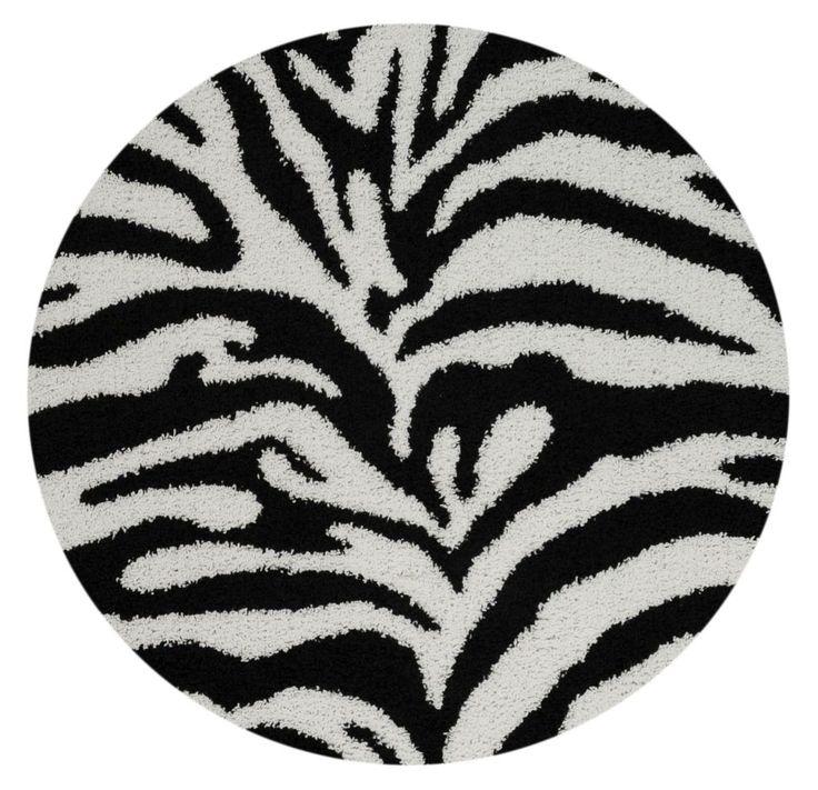 Bella Zebra Print Black & White Shag Area Rug