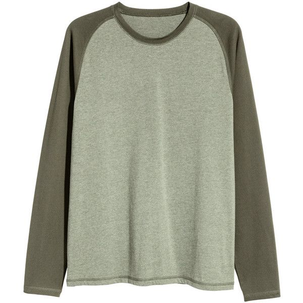 Long-sleeved T-shirt $14.99 ($15) ❤ liked on Polyvore featuring tops, t-shirts, green long sleeve t shirt, raglan tee, green tee, green t shirt and long sleeve tops