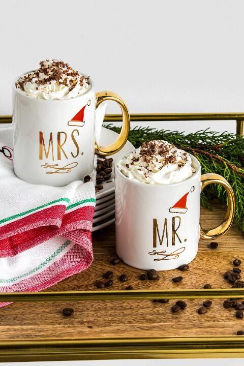 Ceramic Gold Mr. and Mrs. Santa Hat Mug Set