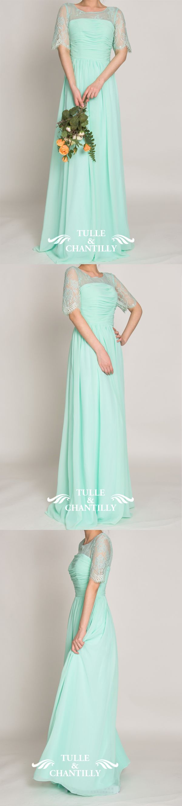 mint blue lace bridesmaid dress with chiffon skirt