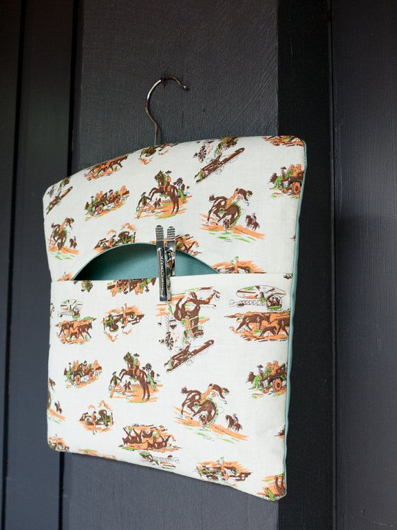 Fabric handmade vintage cowboy print peg by freshdarling on Etsy
