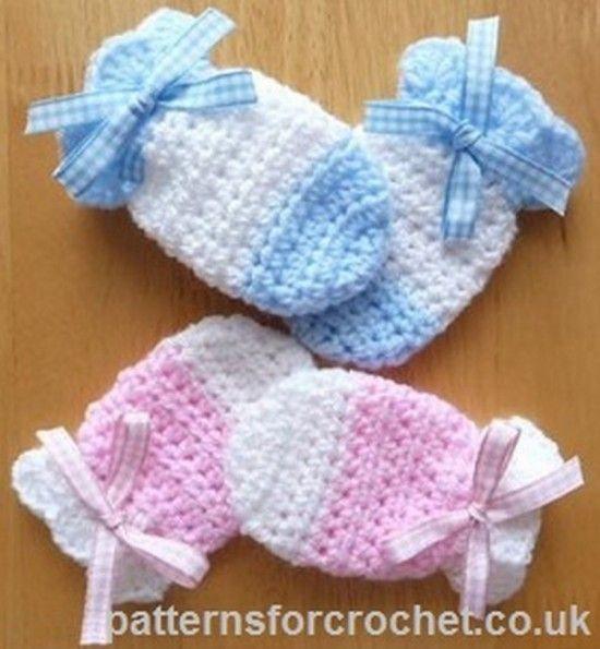Crochet Baby Mittens Free Pattern #babystuff