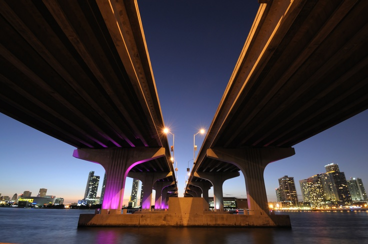 Picture I love of Miami shot from underneath the MacArthur causeway which links downtown Miami with South Beach.