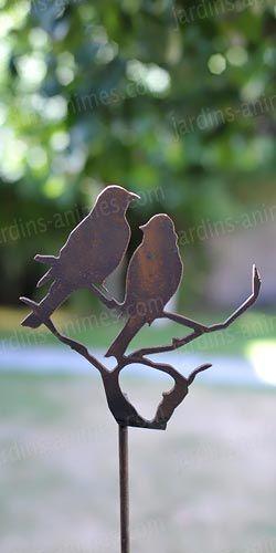 Silhouette oiseaux sur branche – déco de jardin en métal