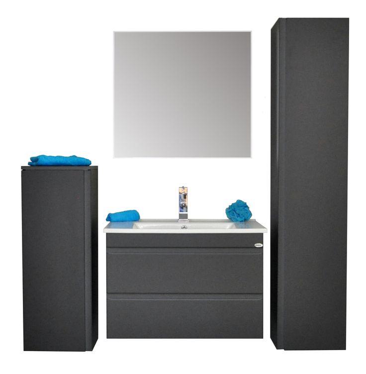 """Sanicare badmeubel Q7 - 75 cm. antraciet  Dit luxe badkamermeubel heeft twee soft-close zelfsluitende """"greeploze"""" Blum lades  De greeploze lades geven het meubel een strak en stijlvolle uitstraling.   Het meubel is voorzien van een mooi vormgegeven keramische wastafel en   te combineren met diverse kolomkasten, spiegelkasten, spiegel, etc.   Verkrijgbaar in de kleuren hoogglans wit, antraciet, schots-eiken   en truffel en in de afmetingen 65, 75, 85 en 100 cm.."""