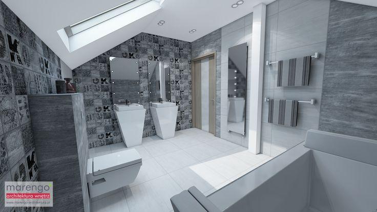 wizualizacja łazienki w mieszkaniu w Bochni, więcej na: http://marengo-architektura.pl/portfolio/poddasze-w-bochni/
