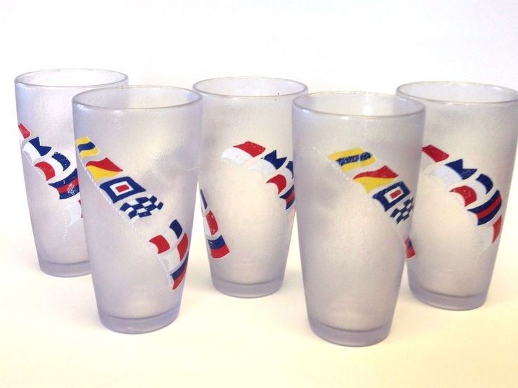 H J #Stotter 5 #PlasticTumblers Signed #Nautical #SignalFlags 5-3/4 Inch USA #HJStotter