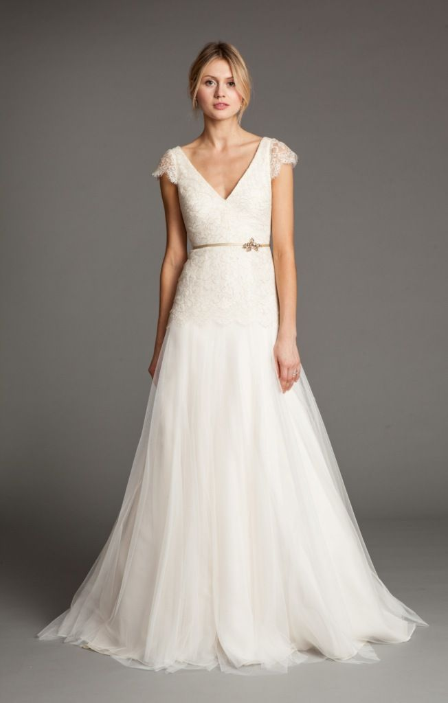 Vionnet Cap Sleeve Wedding Dress by Jenny Yoo via @Yvette Buchanan for the Wedding - simple and cute
