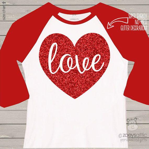 Valentine shirt love sparkly red heart ADULT raglan by zoeysattic