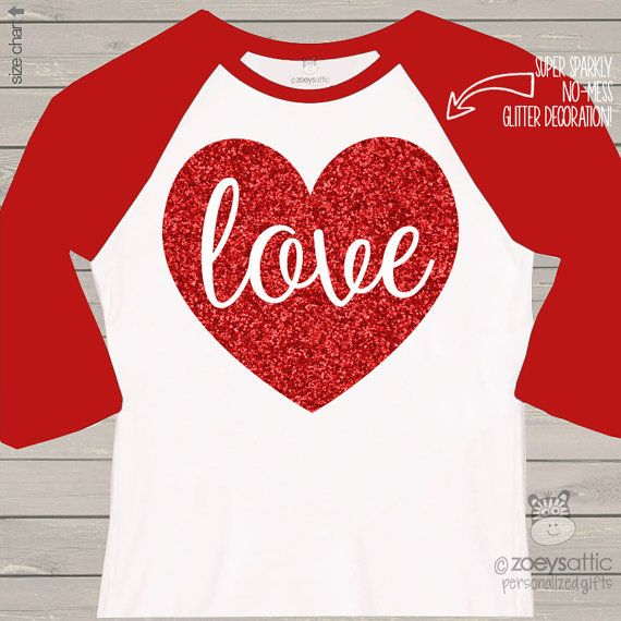 Valentine shirt love sparkly red heart ADULT raglan от zoeysattic