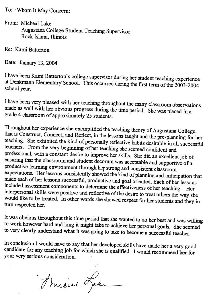 Letter Of Recommendation Help For TeachersWriting A Letter