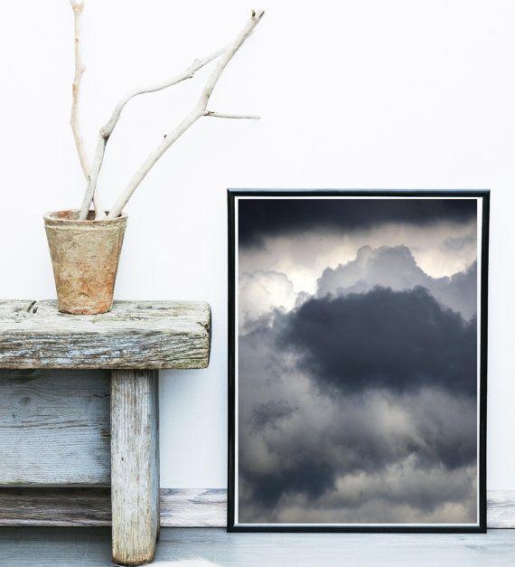 Wolk Art Print, abstracte kunst, zwart-witte kunst, wolken Wall art, minimalistische kunst, Giclee print, kunst aan de muur, Home Decor, wand decor