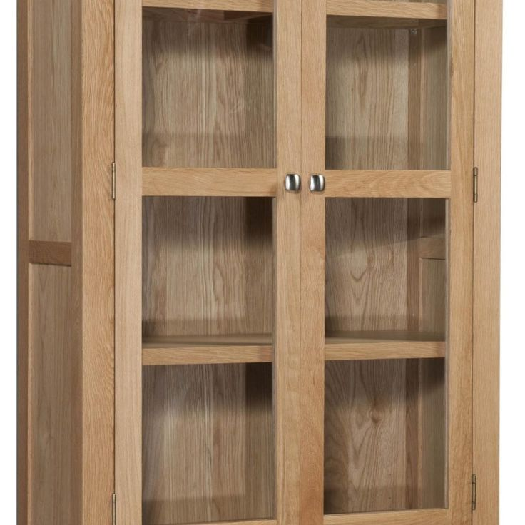 Oak Cabinet With Glass Doors