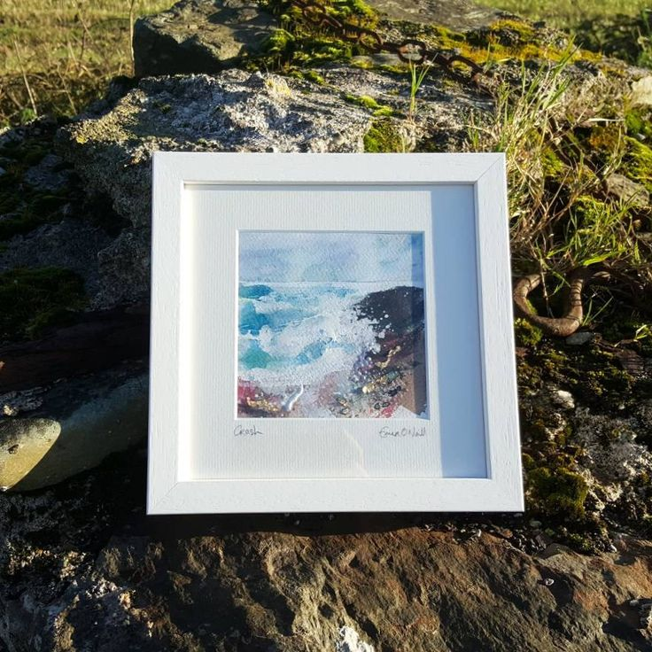 'Crash' is an acrylic & mixed media Irish Seascape with touches of 24ct gold leaf. Painted on 5x5* 300gsm cold pressed watercolour paper, which has been mounted in a 8x8* handmade frame. *approx measurements. €65 P&P I use my art to connect my sea loving customers to the power of t