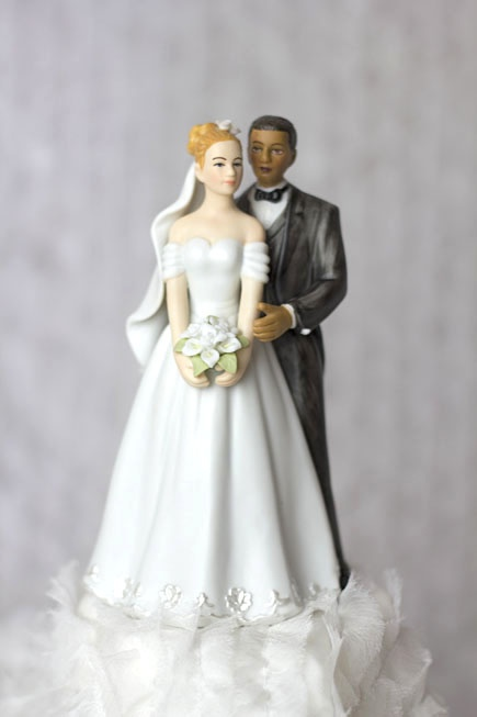 Elegant Interracial Wedding Cake Topper Figurine