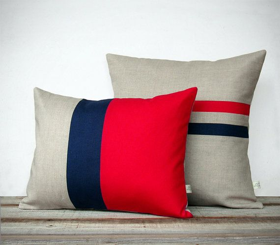 Poppy Red and Navy Pillow Set: Color Block Pillow 12x16