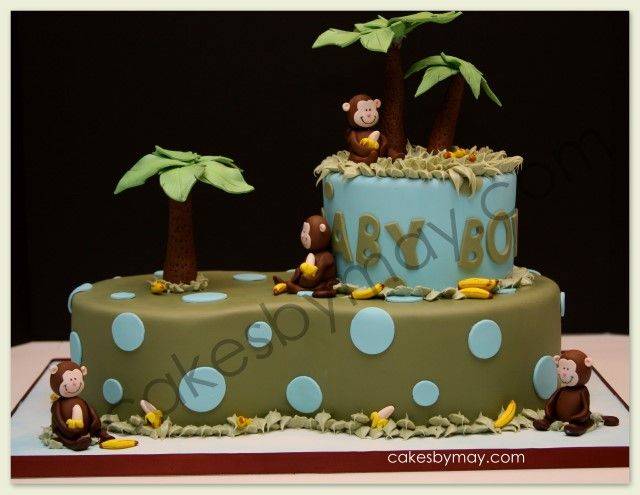 17 best images about baby shower cakes on pinterest safari diaper cakes sheet cakes and - Baby shower monkey pictures ...