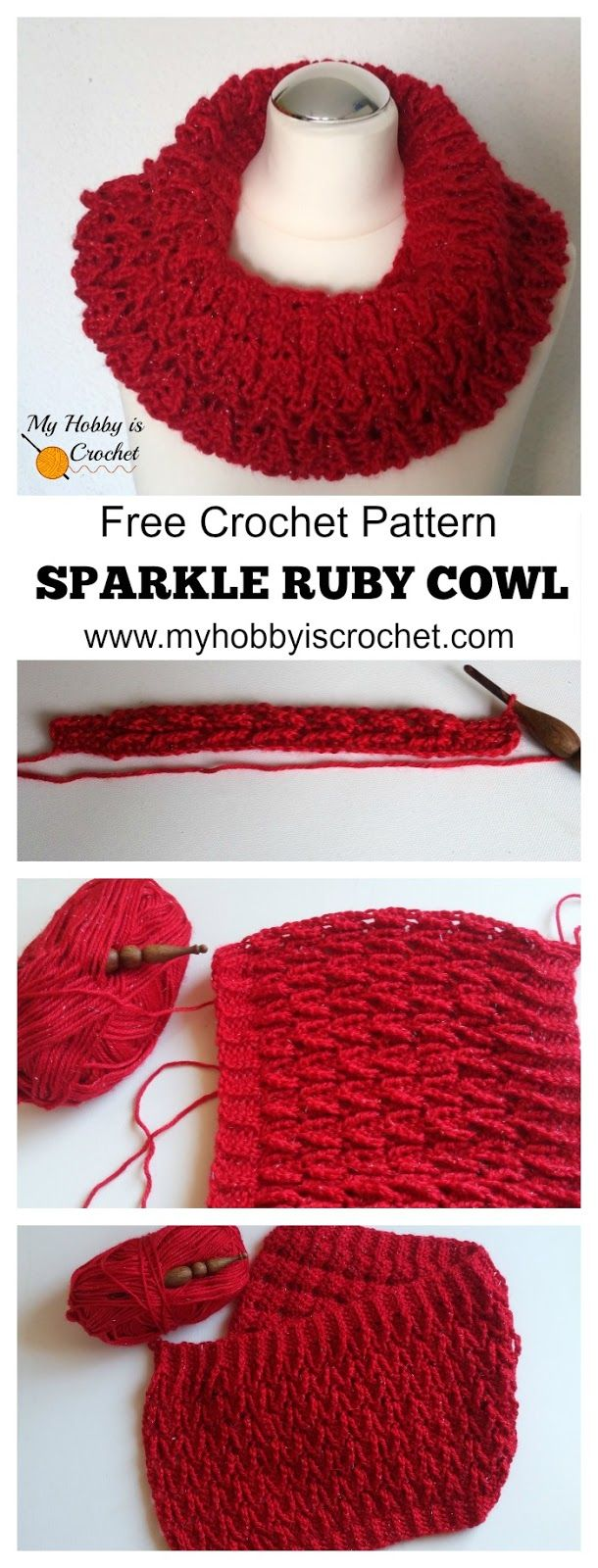 Sparkle Ruby Cowl - #freecrochetpattern with #tutorial on myhobbyiscrochet.com