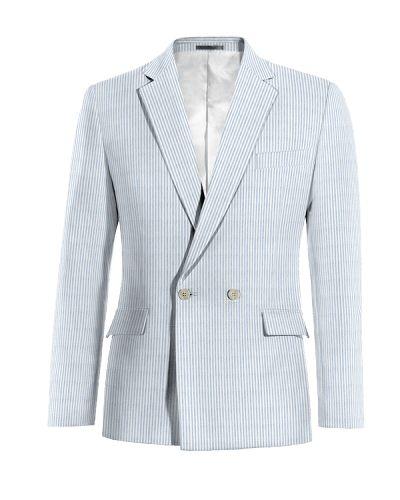 Blue double breasted striped seersucker Blazer - http://www.tailor4less.com/en-us/men/blazers/2718-blue-double-breasted-striped-seersucker-blazer