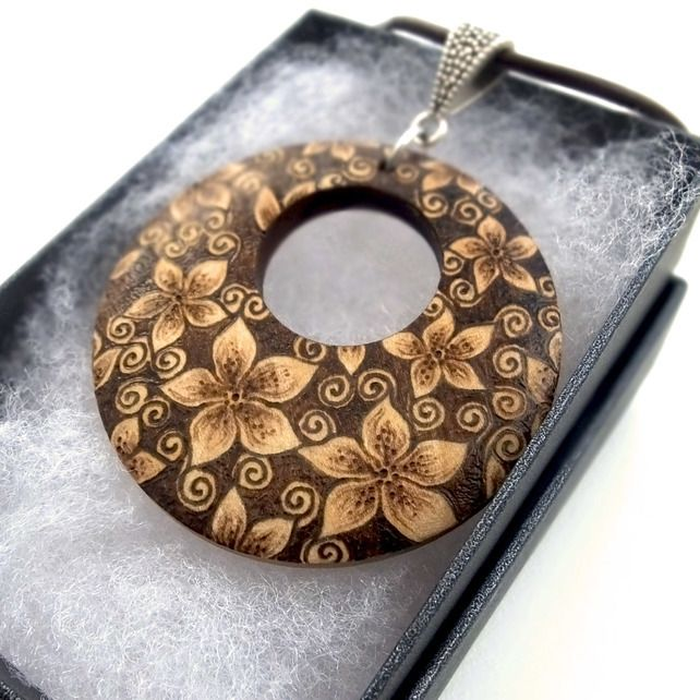 Gorgeous Floral Blossom Unusual Wooden Pyrography Pendant Necklace £18.95