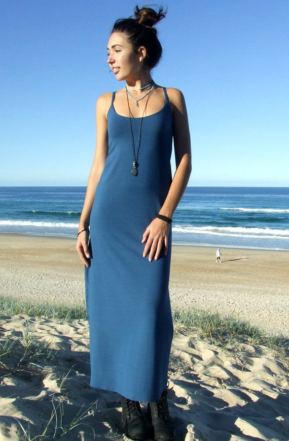 A super comfortable summer dress for all occasions...Made from our luxurious bamboo/organic cotton lycra in a stunning cornflower blue it features spaghetti straps, is fitted through the waist and gracefully drops to the floor with plenty of room to move and dance...Self lined to the