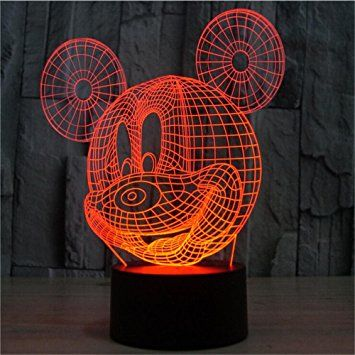 Colorful del mouse 3D illusione ottica lampada a LED lampada di tocco della luce di notte regali creativi della lampada 3D