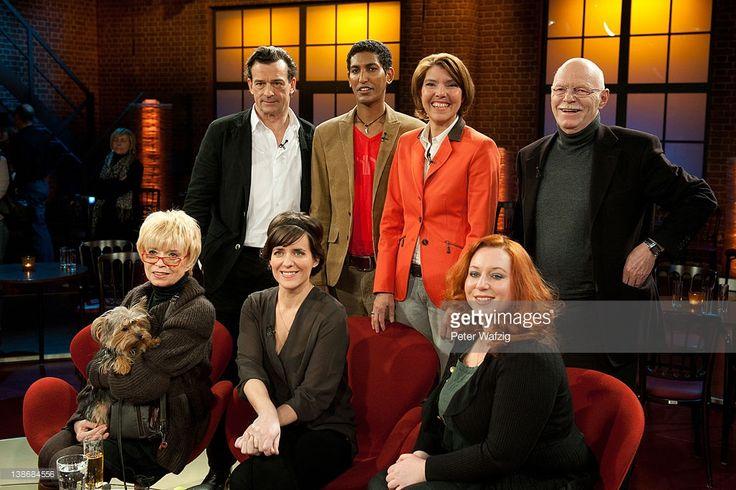 Thomas Sarbacher, Zekarias Kebraeb, Bettina Boettinger, Peter Struck (back, L-R), Ingrid Steeger, Sarah Kuttner and Rebecca Simoneit-Barum (front, L-R) attend the 'Koelner Treff' TV Show on February 10, 2012 in Cologne, Germany.