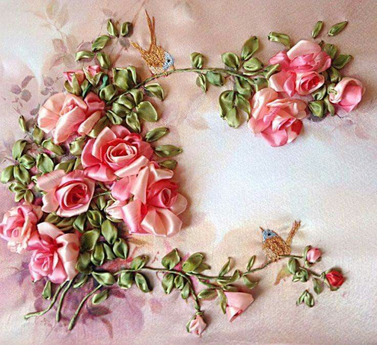 852 Best Silk Ribbon Art Work Images On Pinterest Embroidery