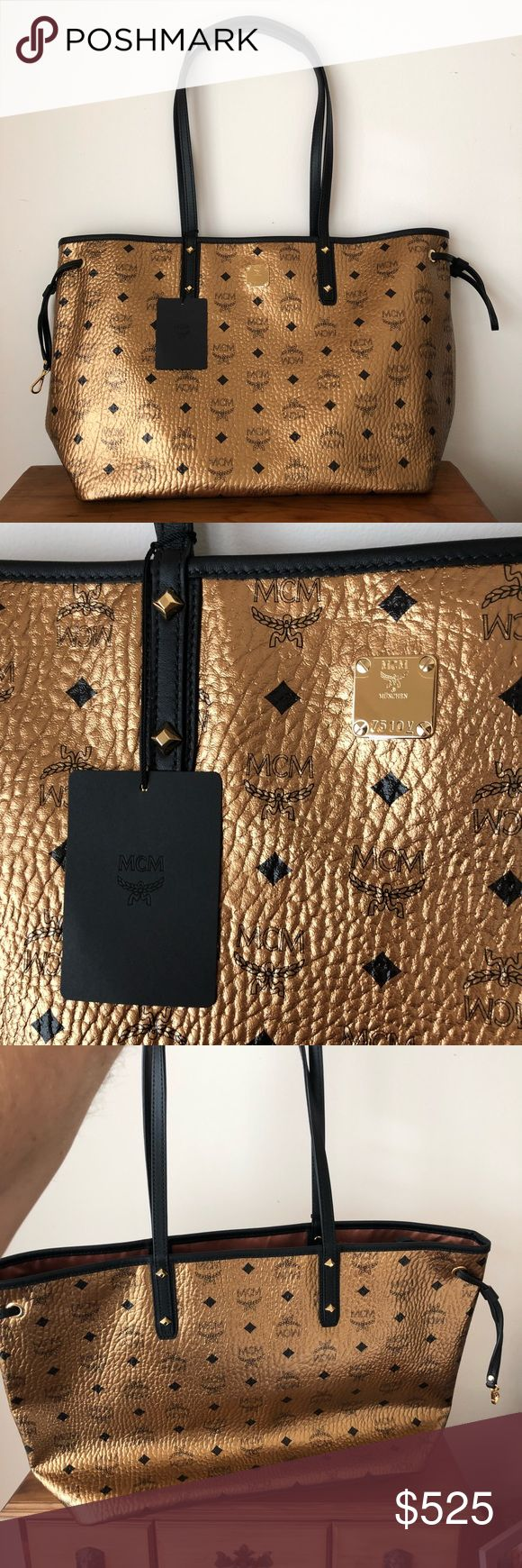 """NEW MCM metallic leather tote 100% authentic with dust bag and authenticity cards. Black and metallic gold pebbled leather. Very hard to find in this color!!! 18"""" length 11"""" height 6.5"""" width. 10"""" strap drop. Price pretty firm. MCM Bags Totes"""