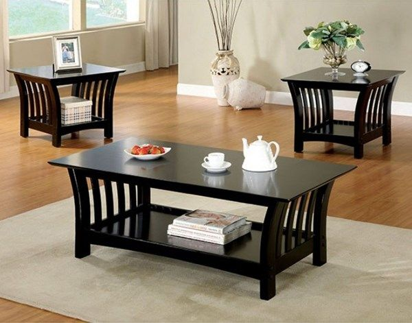 Milford Transitional Black Solid Wood 3pc Coffee Table Set