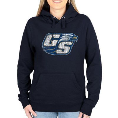 Georgia Southern Eagles Ladies Distressed Secondary Pullover Hoodie - Navy Blue