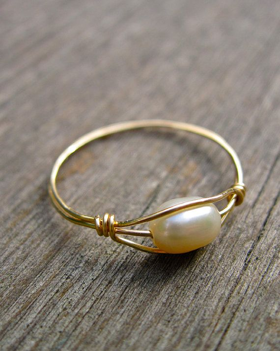 June Birthstone Ring, Freshwater Pearl Ring, 14K Gold FIlled Wire Wrapped Ring, June Birthday Bridal Jewelry
