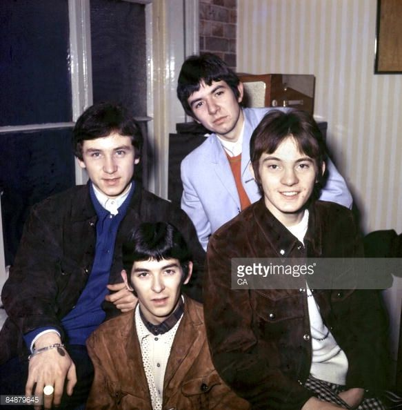 Photo of Steve MARRIOTT and SMALL FACES and Kenney JONES and Ian McLAGAN and Ronnie LANE LR Kenney Jones Ian McLagan Ronnie Lane Steve Marriott posed...
