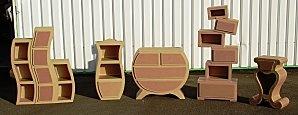Série de meubles en carton, modèles de l'Atelier Chez Soi. Réalisés par Lilly Ondulée à la demande de l'Eclat de Verre.