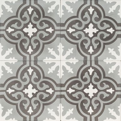 Grey and Black Flower reproduction tile