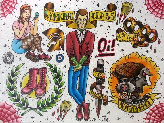 9x12inch Skinhead tattoo flash print by Jeff Duong by JefeGotSoul, $15.00