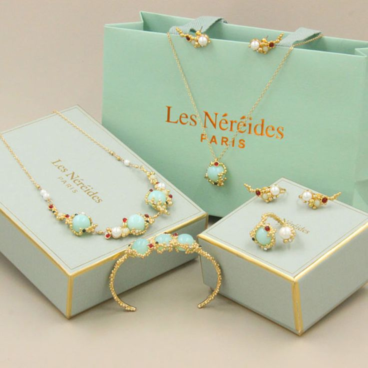 Les Nereides New Geometric Gem Earring Opening Ring Bracelet Necklace Jewelry Sets For Women High Quality