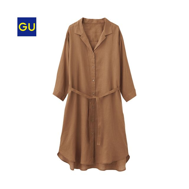 (GU)フレンチリネンシャツワンピース(7分袖)NU