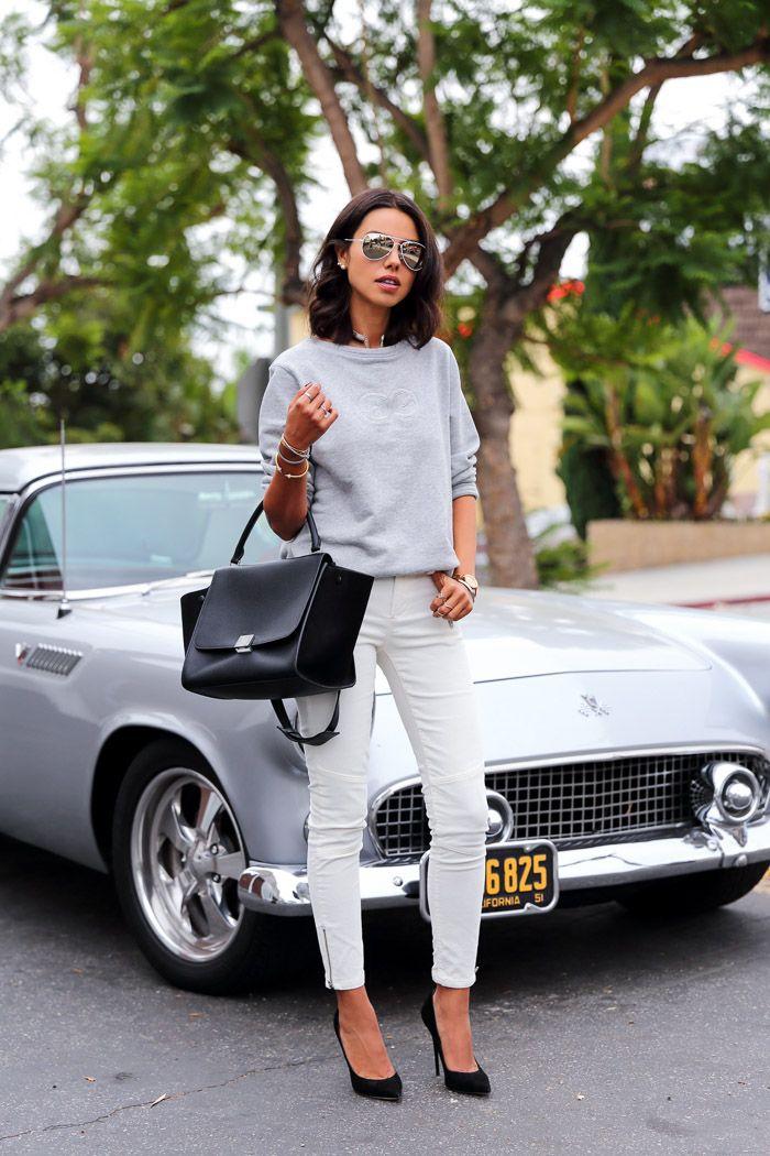 Grey Sweatshirt and Skinny White Jeans | { My Style } | Pinterest ...