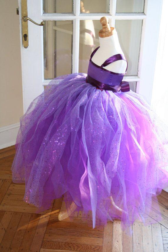 Purple Sparkle Flowergirl Tutu Dress Plum by KellyHartzDesigns, $85.00
