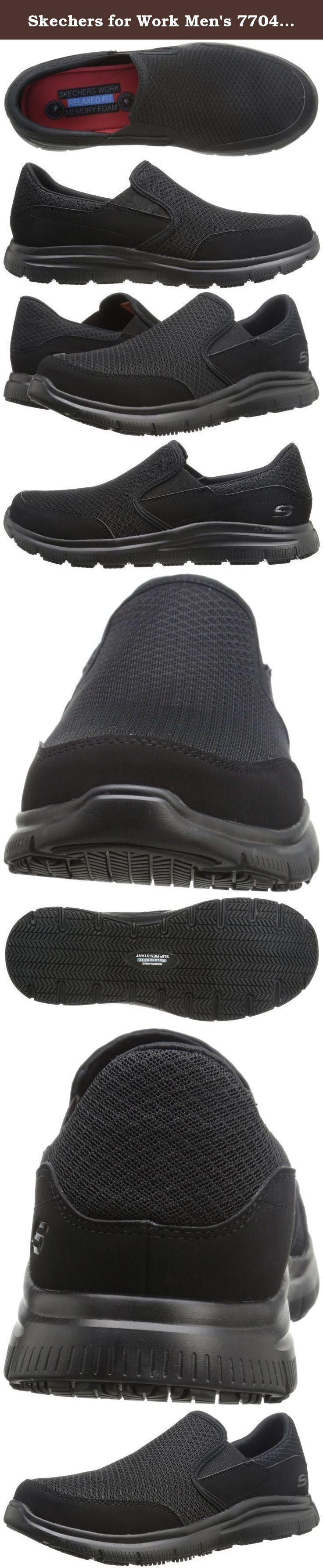 Skechers for Work Men's 77048 Flex Advantage Slip-Resistant Mcallen Slip On. Slip on work shoe.