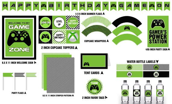 Video Game Party Combo Set  INSTANT DOWNLOAD  by SweetandClever