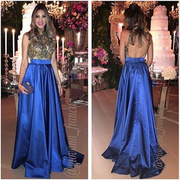 Giovana França vestido de festa azul dourado