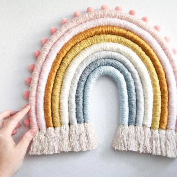 Earthy Large Rainbow Fiber Wall Hanging Etsy Fiber Wall Hanging Wall Hanging Crafts