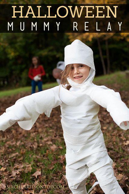 Halloween Mummy Relay (not the most environmentally conscious...)