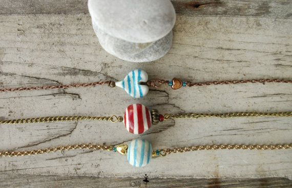 navy summer BRACELETS, with red and blue stripes, beads hand formed and hand painted, FREE SHIPPING