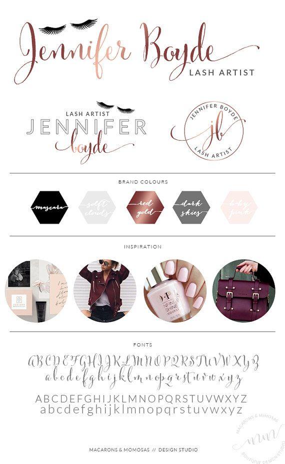 EyeLash Logo / Rose Gold Foil Lash Beauty Boutique / Make up Artist Branding Set / Beauty Salon Boutique Logo Makeup Marketing Kit / 068