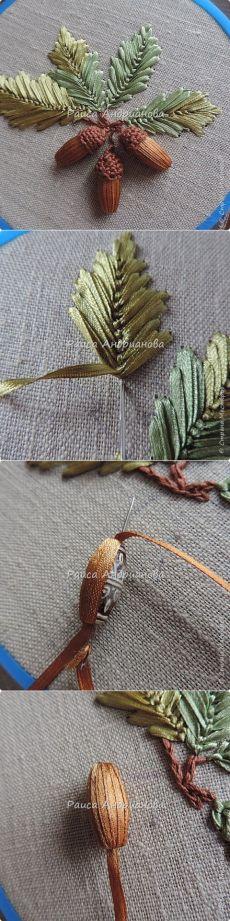 vyshivka lentami, cvety iz lent