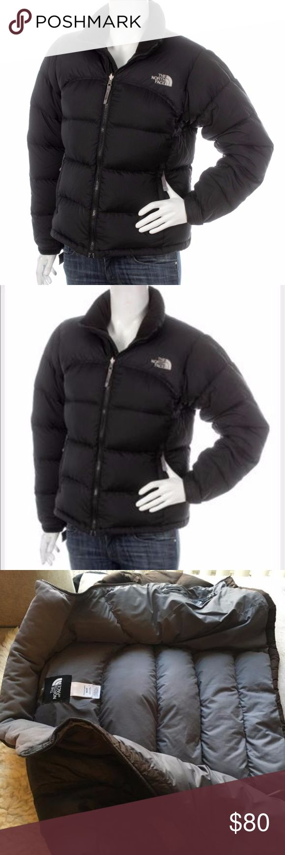 North Face 550 Goose Down Black Winter Coat Black color, Size medium, Women's but also fit Men, minimal use, doesn't have hood, black exterior, gray interior interior collar, minor defect on the outer right sleeve but will have that fixed, very warm and comfortable! The North Face Jackets & Coats Puffers